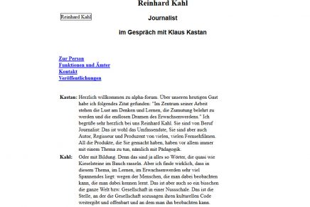 alpha Forum – Im Gespräch mit Klaus Kastan