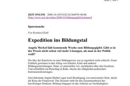 ZEIT-online Expedition ins Bildungstal