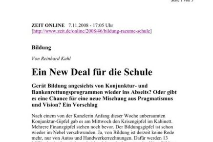 ZEIT online  Ein New Deal für die Schule