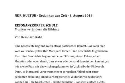 Resonanzkörper Schule NDR und WDR  Gedanken zur Ze